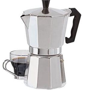 Cast aluminum stovetop espresso maker, silver